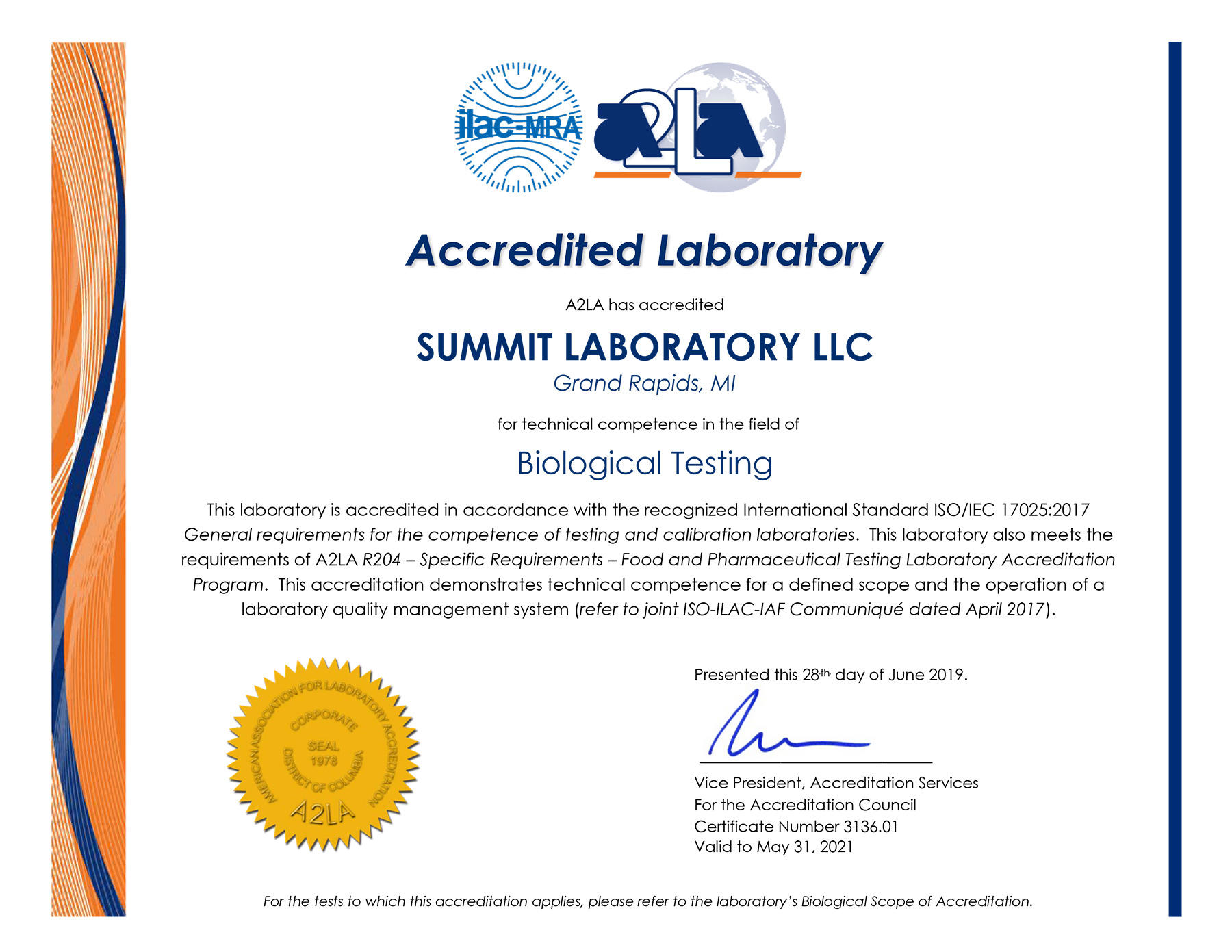 Summit A2LA ISO 17025 accredited methods scope 2020-3