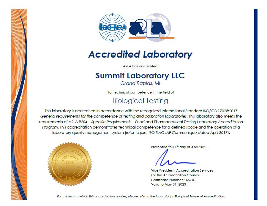 Summit A2LA ISO 17025 accredited methods scope 2020-3
